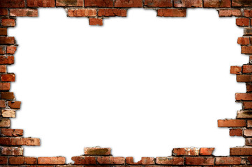 Brick frame isolated with clipping path on white background
