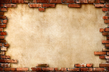 Printed roller blinds Brick wall Parchment background in brick frame with clipping path