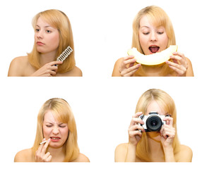 four pictures of one female with objects