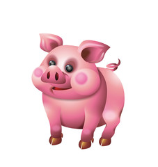 Cute pig illustration isolated on white background
