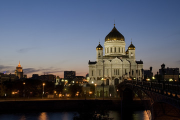 Temple of the Christ of the Savior. Moscow in the evening.