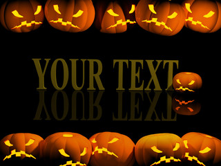 Halloween background with evil pumpkins