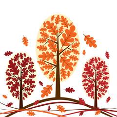 Tree autumn background, vector illustration