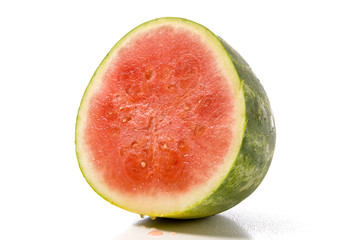 A seedless juicy watermelon on a white background