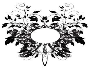 cadre  floral noir et blanc papillon