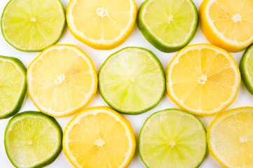 Lemon and lime slices abstract background