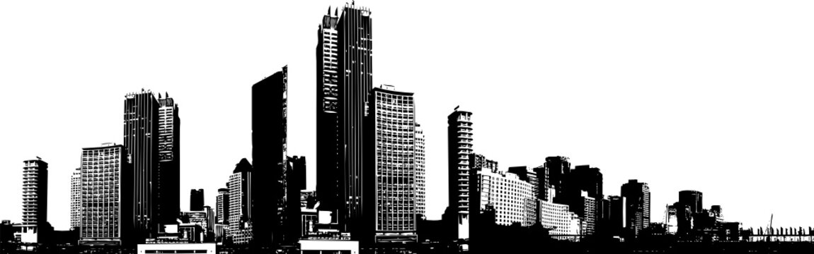 Black and white panorama city.