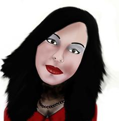 Dolce modella con chioma di capelli neri e labbra rosso fuoco