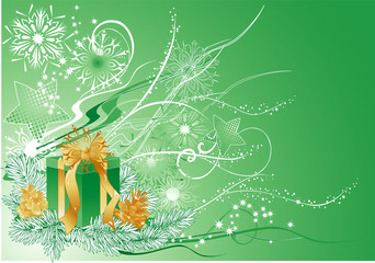 Green christmas background with gift and pine cones.