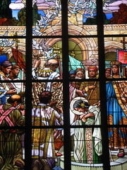 Stained-glass window in Saint Barbara catholic cathedrale