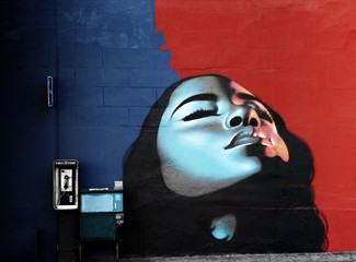 woman's face painted on wall with vibrant colors