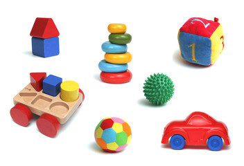 Many children's toys on a white background