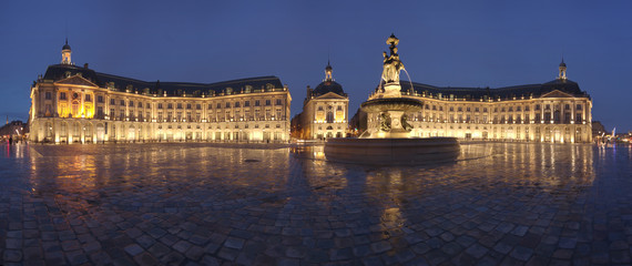 Panoramic view of the Place de la Bourse in Bordeaux