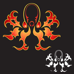 Tattoo-like octopus flame design in color and white