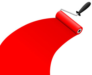 roller brush with red paint vector illustration