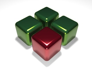 Red cube about green cubes on a white background