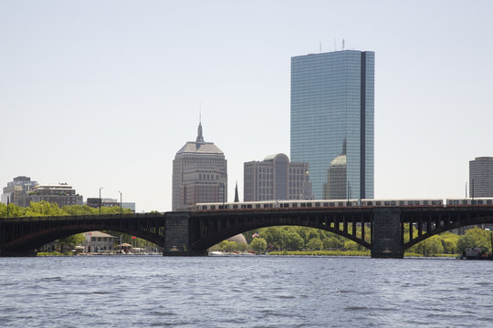 Boston skyline from the Charles River with the Longfellow Bridge