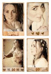 Grunge photo frames with bride in vintage finish