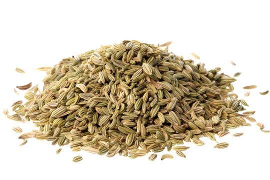 Isolated macro image of fennel seeds.