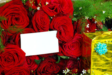 roses with  gift