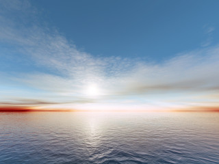 An illustration of a sunset over the ocean