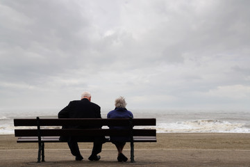 elderly people at the beach