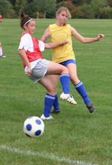 Youth Teen Soccer Players in Action