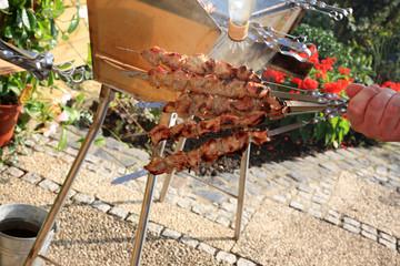Hand with roasted shish kebab.