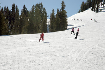 skiers on slopes at a california ressort
