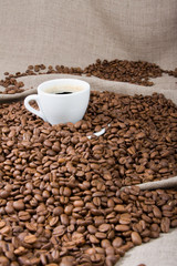 cup of coffee on the coffee beans