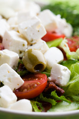 Feta salad with tomatoes and green olives