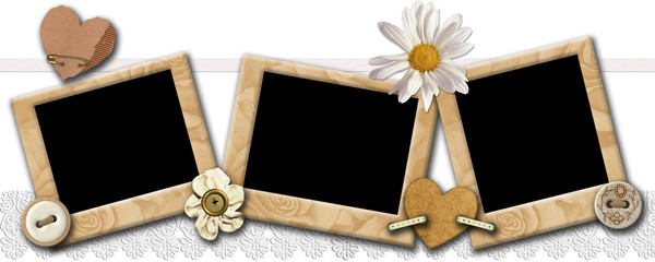 Grunge photo frameworks in a retro style on a white background