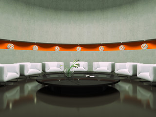 View on the modern waiting-room 3D rendering