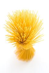 Spaghetti standing on white background