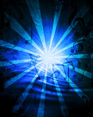 Blue music sheet with some rays on it