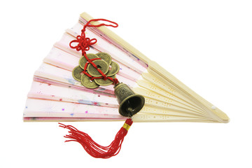 Chinese Trinket on Paper Fan on Isolated White Background