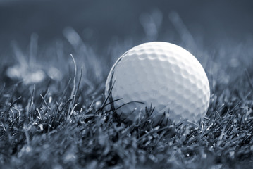 Blue toned image of golfball in grass