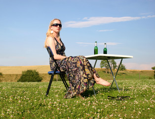 Picnic with a young nice woman