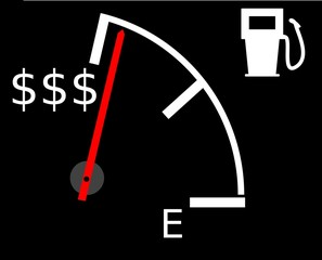 Illustration showing rising fuel prices