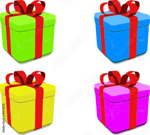 Set vettoriale pacchi regalo colorati immagini e for Immagini di pacchetti regalo