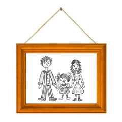Picture Happy family in frame isolated on white background