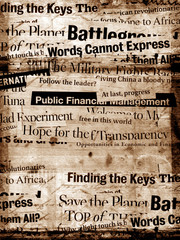New paper headlines with old paper background