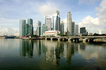 Skyline of modern business district, Singapore