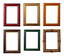 Six wooden frames isolated on white