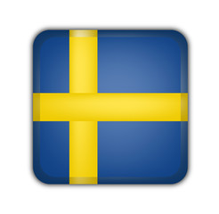 flag of sweden, square button on white background