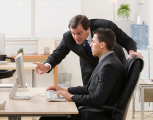 Supervisor gesturing and explaining work to young businessman