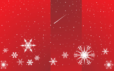 Red snowflakes abstract background