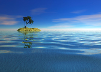 Romantic Desert Island with Palm Tree against the Horizon