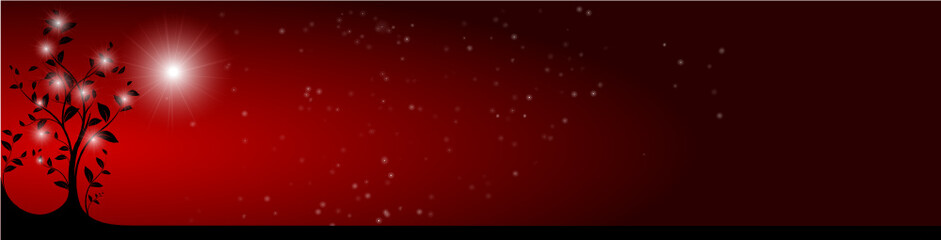 vector serie - horizontal christmas tree banner, red sky