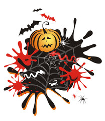 vector halloween illustration with pumpkin, blots and bats